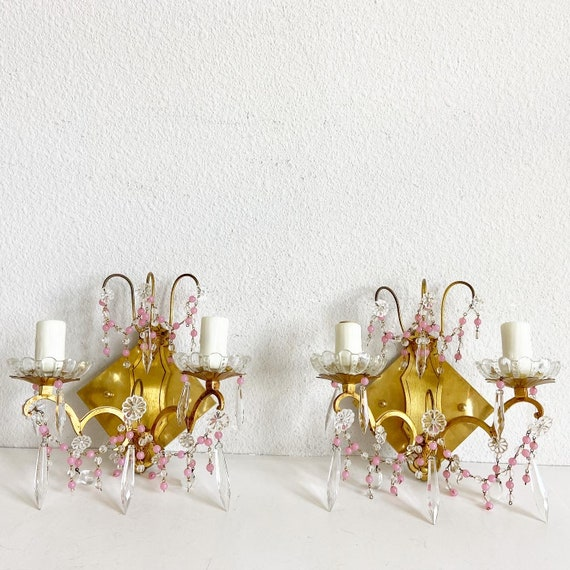 Midcentury French Crystal Sconces - a Pair