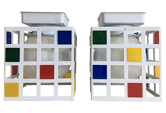 1960s Mondrian-Style Ceiling Lights, Pair