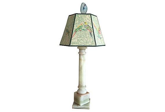 Onyx Column Lamp & Vintage Parrots Shade