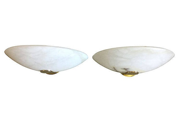 Alabaster Sconces by Lightolier, Pair