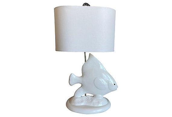 Oversize 1960s Angel Fish Lamp & Shade