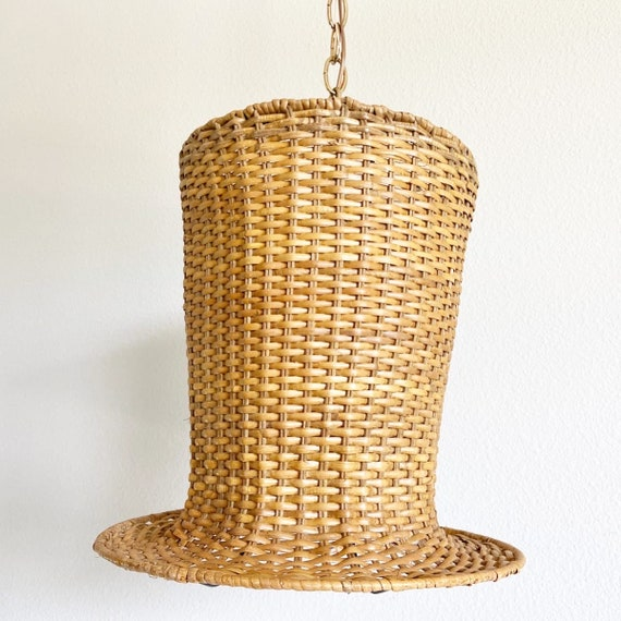 1970s Wicker Top Hat Light