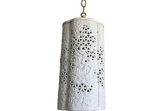 Mid-Century Blanc de Chine Pendant Light