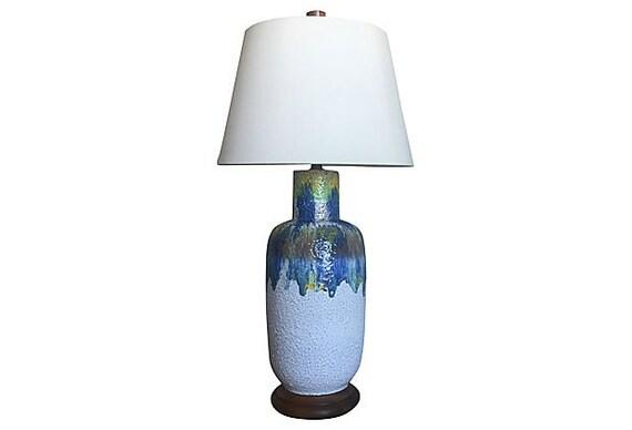 Oversize Midcentury Drip Glaze Urn Lamp
