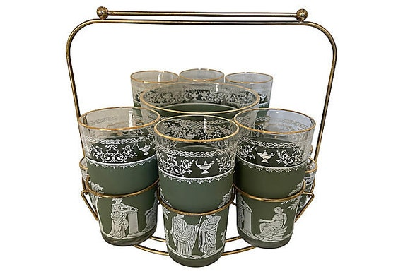 Mid-Century Neoclassical Bar Set, 14 Pieces