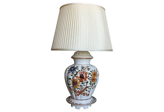 1950s Italian Lamp & Silk Shade