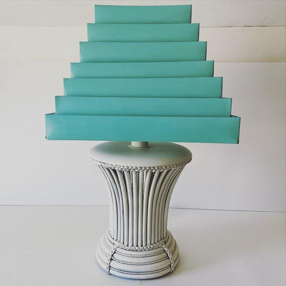 Slatted Rattan Lamp & Venetian Shade