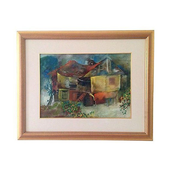 Midcentury Abstract House Watercolor