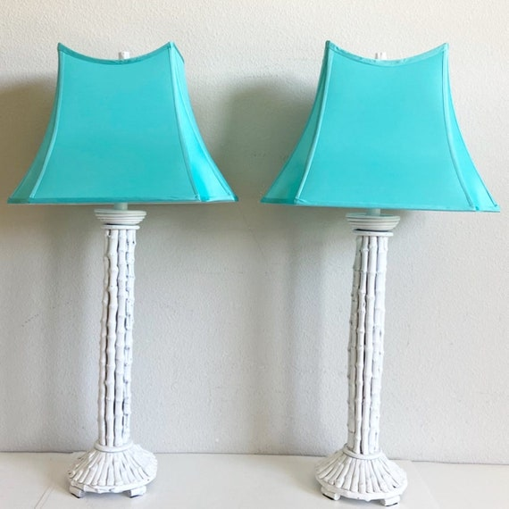 Oversize Bamboo Lamps & Shades - a Pair