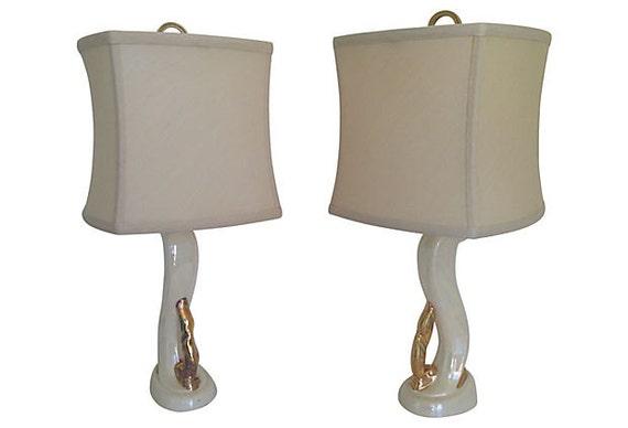 1950s Aladdin Ceramic Lamps & Shades, Pair