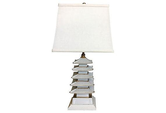 Midcentury Pagoda Lamp & Shade