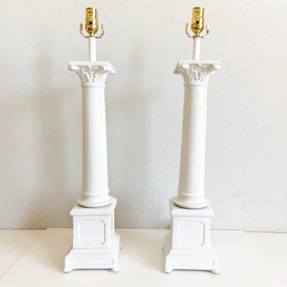 Mid-Century Italian Porcelain Column Lamps - a Pair
