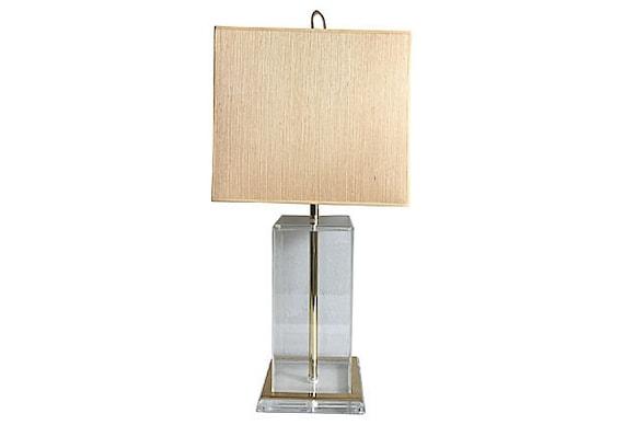 Midcentury Italian Lucite Lamp & Shade