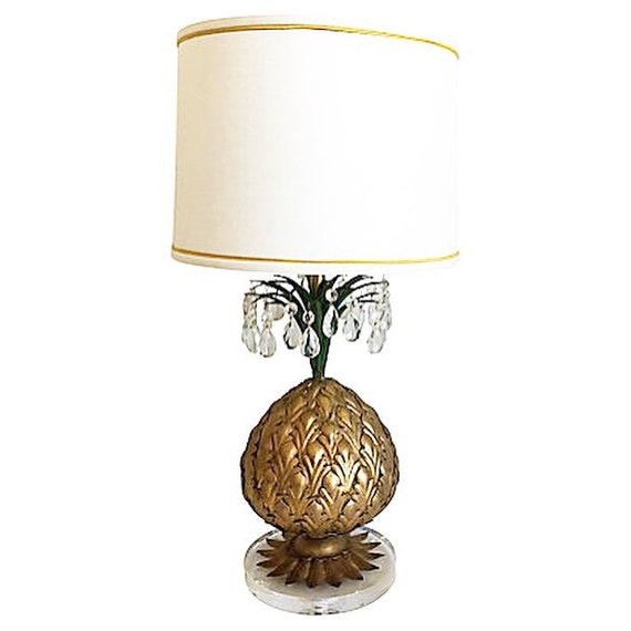 1950s Italian Gilt Pineapple Lamp & Shade