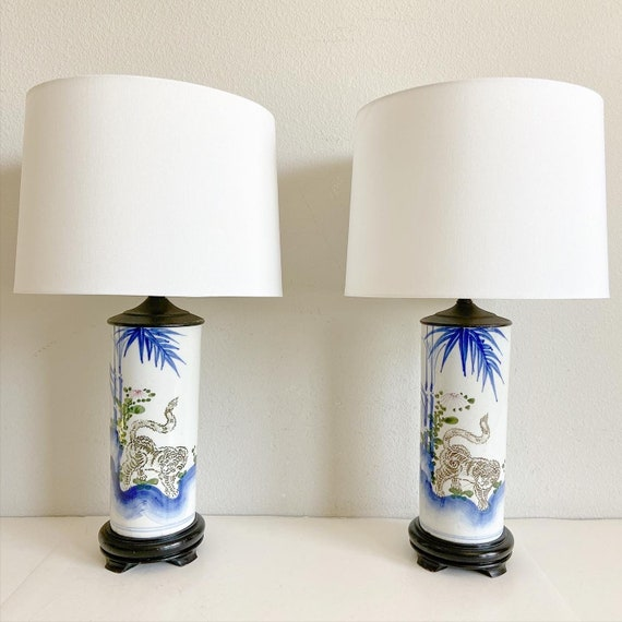 1950s Chinoiserie Lamps & Shades - a Pair