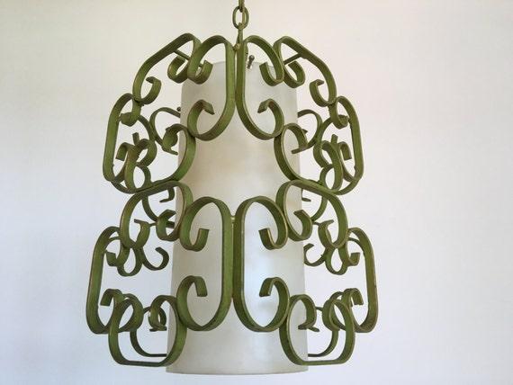 1950s Wrought Iron Pendant Light