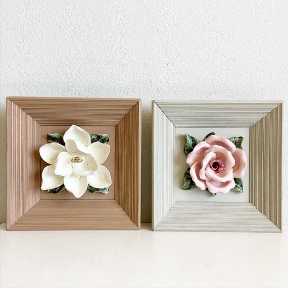 Mid-Century Majolica Floral Wall Art - Pair