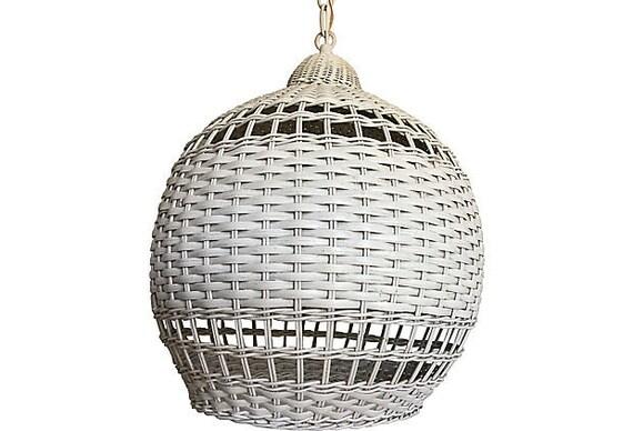1960s Wicker Ginger Jar Pendant Light