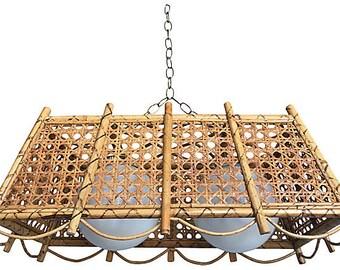 Wicker chandelier etsy rattan wicker chandelier aloadofball Image collections