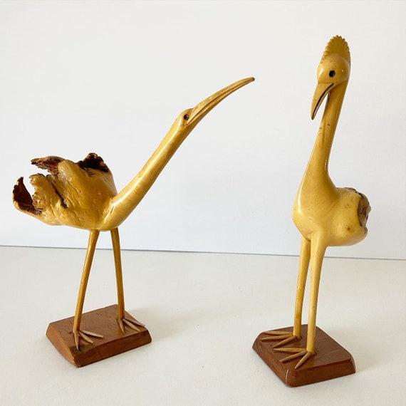 Burl Wood Bird Figurines - a Pair