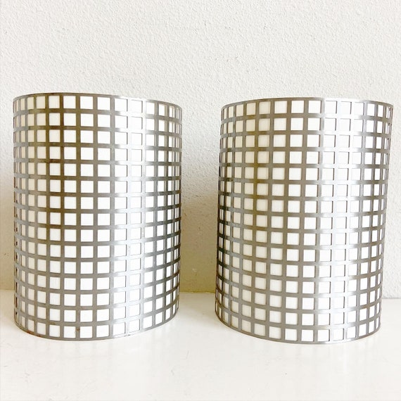 Vintage Grid Wall Lights - a Pair
