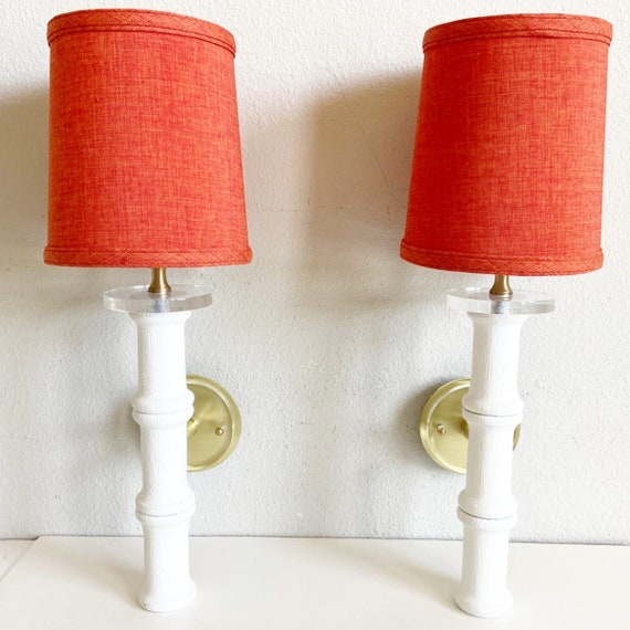 1950s Bamboo Sconces & Shades - a Pair