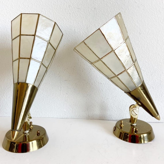 1960s Feldman Capiz Wall Lights - a Pair