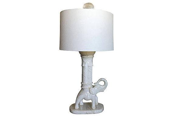 Oversize Italian Marble Elephant Lamp