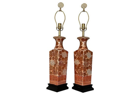 1950s Japanese Vase Lamps - a Pair