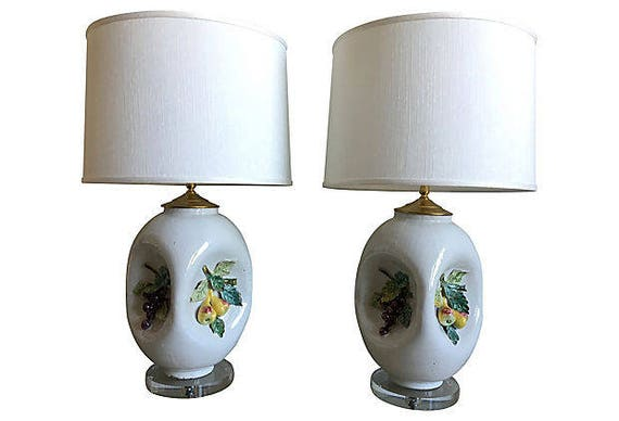 Italian Majolica Lamps & Shades, Pair