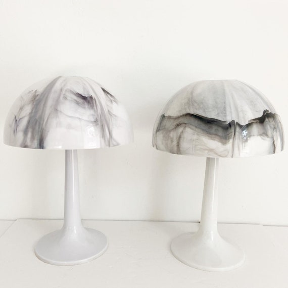 Modern Marbled Mushroom Lamps - a Pair