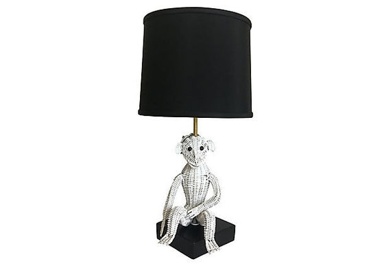 1960s Wicker Monkey Lamp