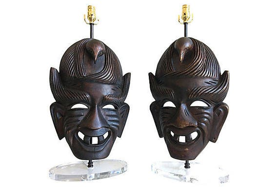 African Tribal Mask Lamps, Pair