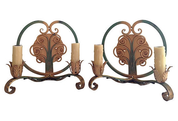 1940s French Iron Sconces, Pair
