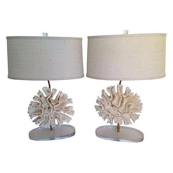 Natural Coral Specimen Lamps, Pair