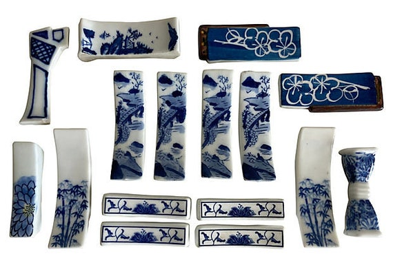 Vintage Blue & White Porcelain Knife Rests - Set of 16