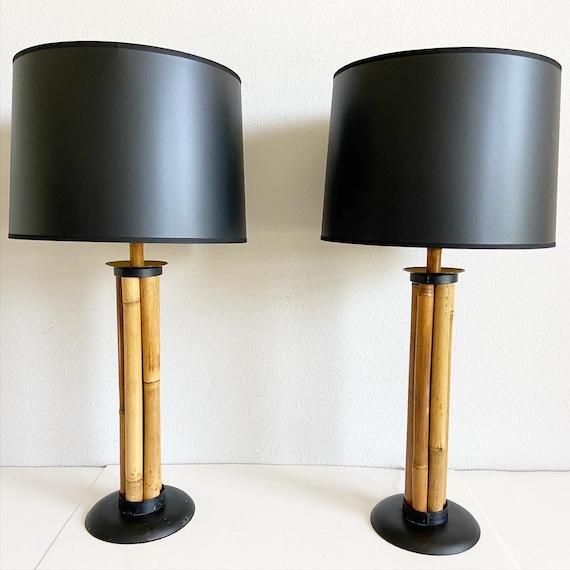 1960s Natural Bamboo Lamps & Shades - a Pair