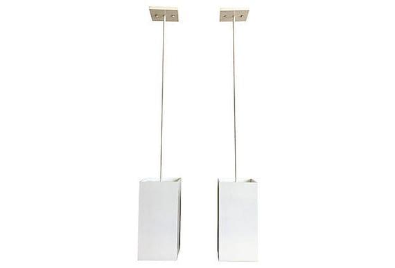 1960s Geometric Pendant Lights - a Pair