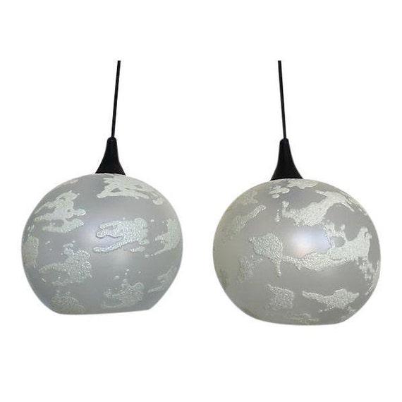 Modern Glass Globe Pendant Lights, Pair