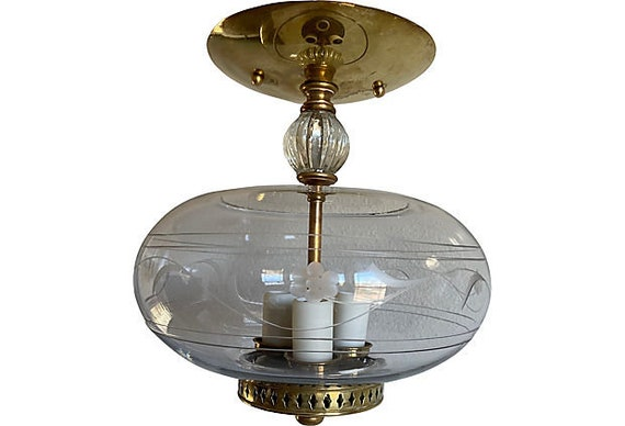 1950s Etched Glass Ceiling Chandelier
