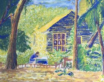 1970s English Landscape Gouache