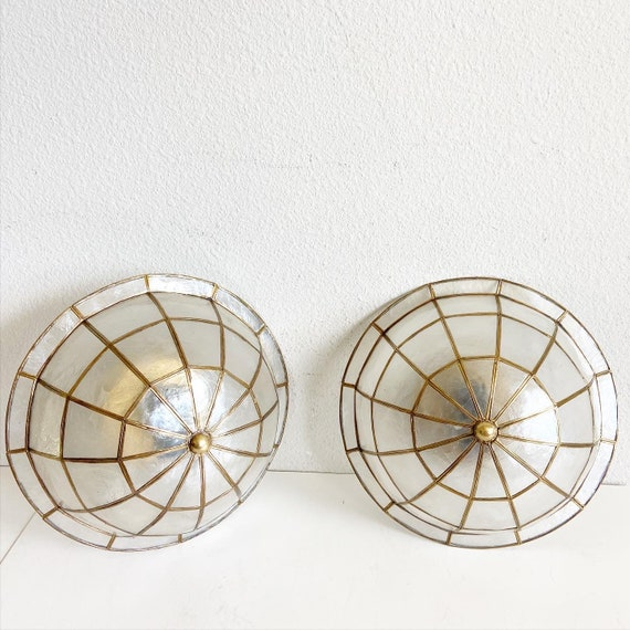 Domed Capiz Shell Flush Lights - a Pair