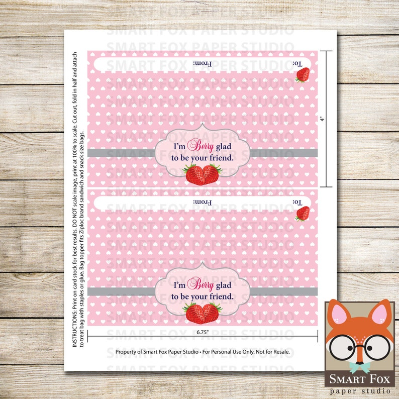 Treat Bag Valentine Bag Topper Valentine/'s Day Digital Printable Instant Download Strawberries Digital Valentine Bag Topper