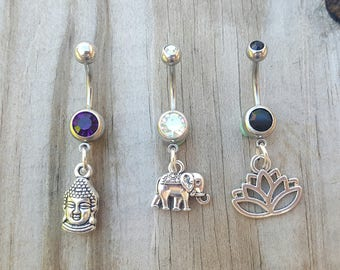 Lotus Belly Button Ring Set, Elephant Belly Jewelry, Buddha Belly Ring, Body Jewelry, Celestial Belly Ring, 14g Barbell, Belly Piercing.