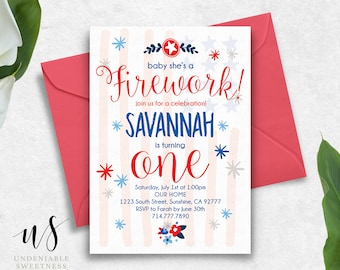 "Fourth of July Printable Birthday Invitation | ""Baby She's a Firework"" 