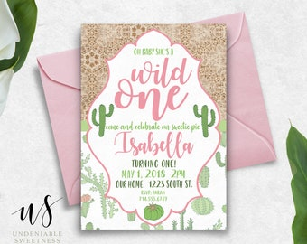 """Cactus """"Wild One"""" First Birthday Printable Invitation 