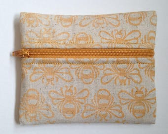 Hand printed, hand sewn bee coin purse. Yellow.
