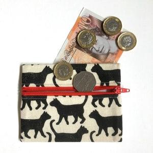 hand sewn coin purse Hand printed linocut Orange squirrel.