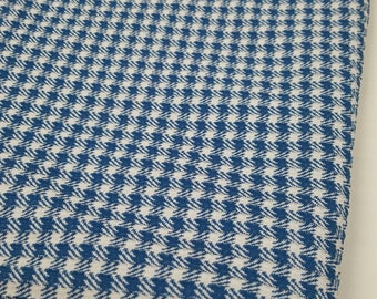 Polyester Knit Blue Plaid Fabric (2 Yards)