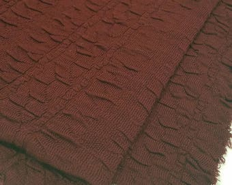 Maroon Colored Ribbed Polyester Fabric  (1 1/2 Yards)
